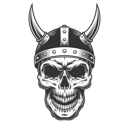Calavera en el casco vikingo Ilustración de vector