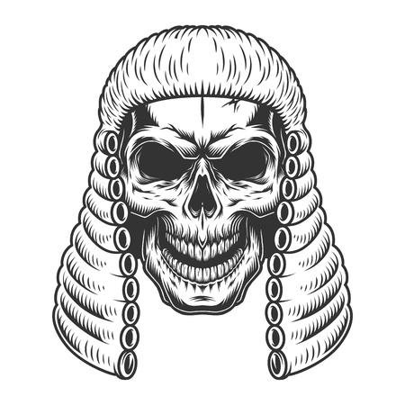 Czaszka w peruce sędziego Ilustracje wektorowe