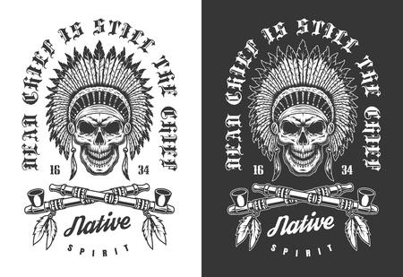 Vector skull emblem Ilustração