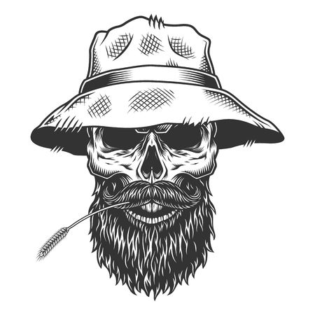 Skull in the panama hat 写真素材 - 105724324