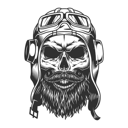Skull in the pilot helmet