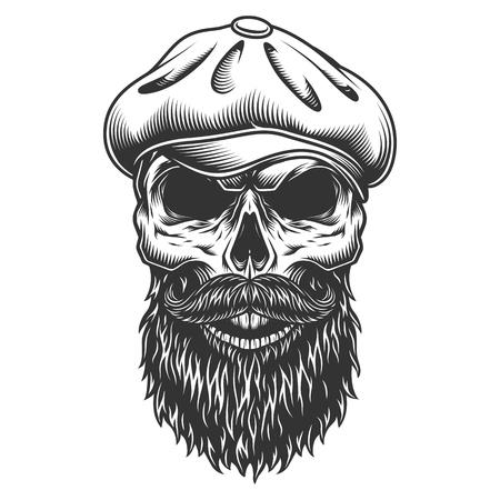 Skull in the tweed hat. Illustration