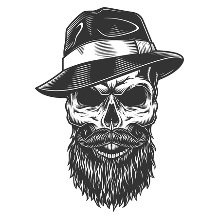 Skull in the fedora hat Vectores