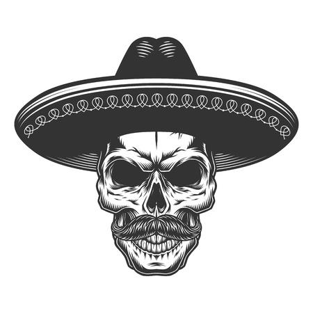 Skull in the mexican sombrero hat. Vector illustration
