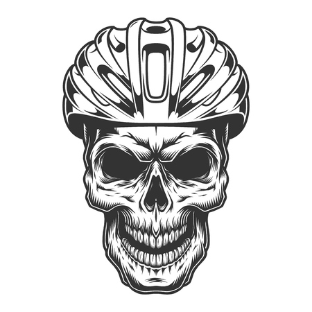 Skull in the bicycle helmet. Vector illustration