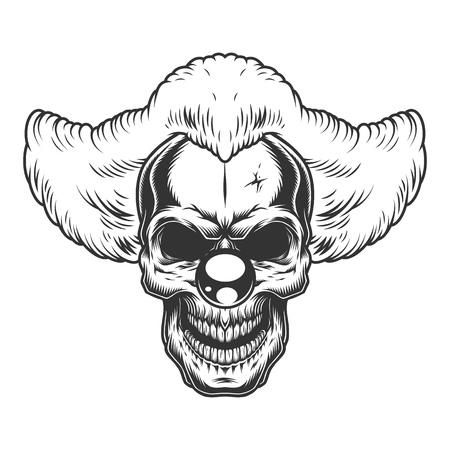 Skull angry clown style. Vector illustration concept