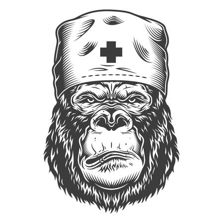 Serious gorilla in monochrome style  イラスト・ベクター素材
