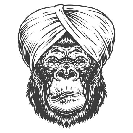 Gorila serio en estilo monocromo Ilustración de vector