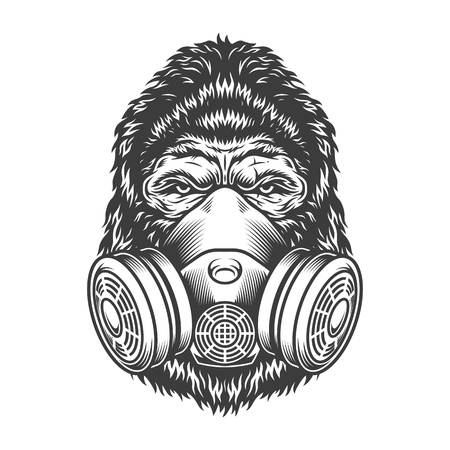 Serious gorilla in monochrome style Illustration