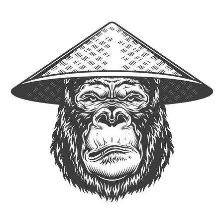 Serious gorilla in monochrome style Illustration