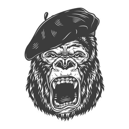 Gorille en colère dans un style monochrome