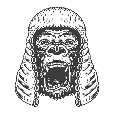 Angry gorilla in monochrome style Иллюстрация