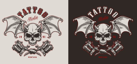 Skull with wings. tatoo studio emblem. Vector vintage illustration