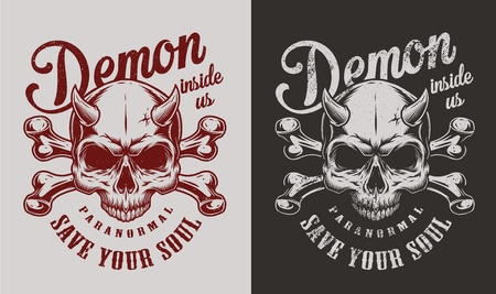 Skull with horns and bones. Vector vintage illustration