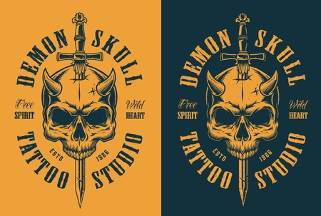 skull with horn and sword. Vector vintage illustration Ilustrace