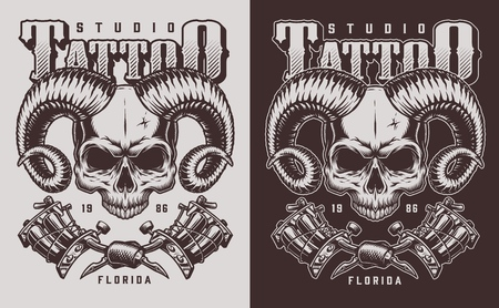 skull with horns and tattoo machines. Vector vintage illustration 写真素材 - 111941387