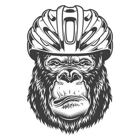 Serious gorilla in monochrome style Stockfoto