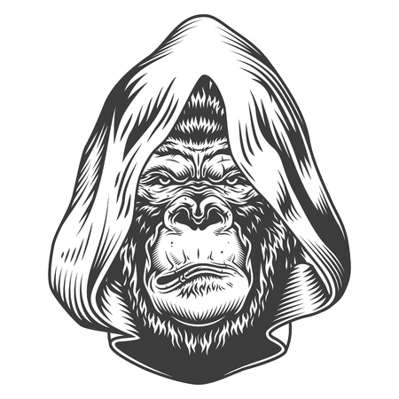 Serious gorilla in monochrome style Stock Vector - 106614885