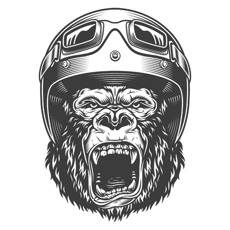 Angry gorilla in monochrome style Stock Illustratie