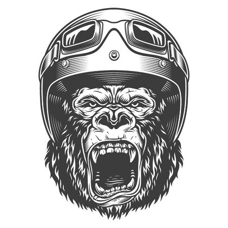 Gorille en colère dans un style monochrome Vecteurs