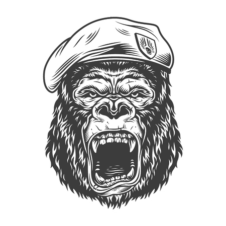 Angry gorilla in monochrome style Stock Vector - 106614896