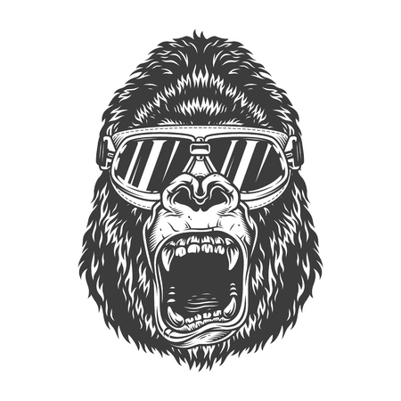 Angry gorilla in monochrome style Ilustrace