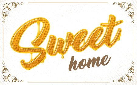 lettering with honeycomb patten Illustration
