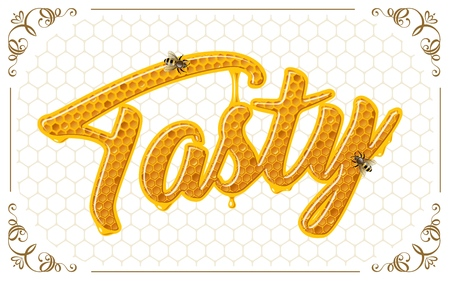 lettering with honeycomb patten Vector Illustratie