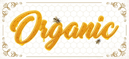 lettering with honeycomb patten Vectores