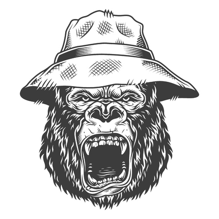 Angry gorilla in monochrome style 向量圖像