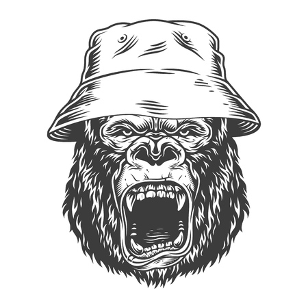 Angry gorilla in monochrome style  イラスト・ベクター素材