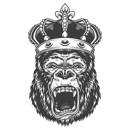 Angry gorilla in monochrome style Illustration