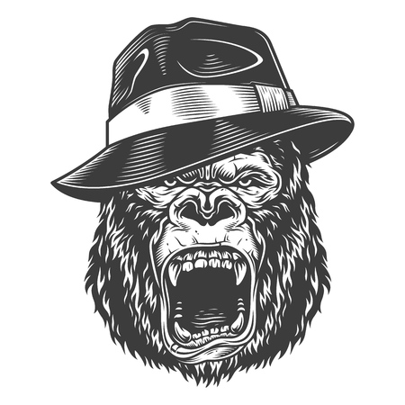 Angry gorilla in monochrome style Stock fotó - 106926756