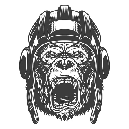 Angry gorilla in monochrome style Ilustracja