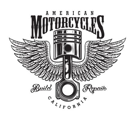 Vintage monochrome motorcycle label
