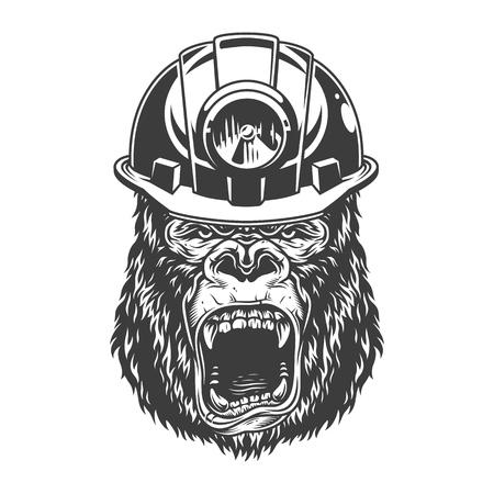 Angry gorilla in monochrome style Ilustração