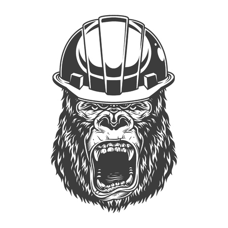 Angry gorilla in monochrome style Stock Vector - 106926775