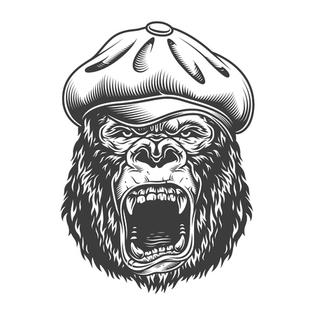 Angry gorilla in monochrome style Stock Vector - 106926783