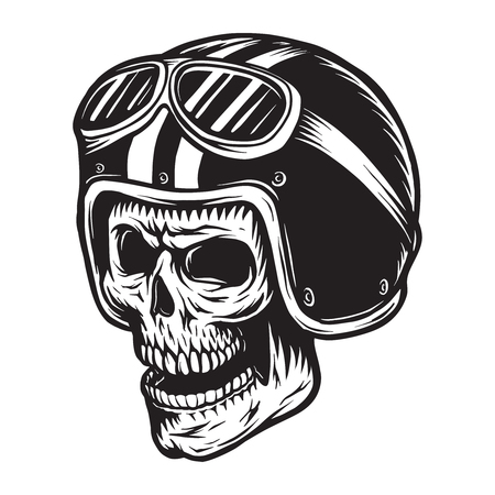 Vintage monochrome skull rider concept Stock Photo