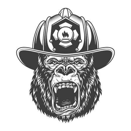 Angry gorilla in monochrome style Stock Photo