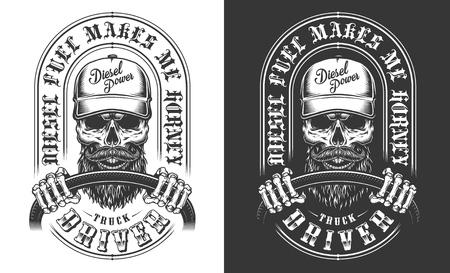 Trucker emblem with skull Foto de archivo - 106926800