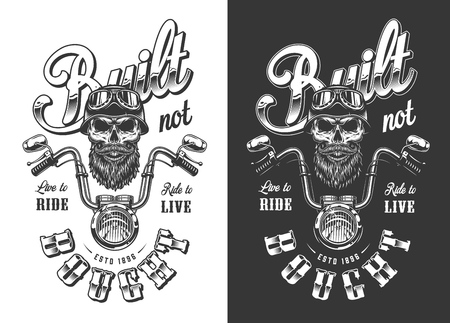 Biker emblem with skull in monochrome style. Vector illustration Foto de archivo - 111797640