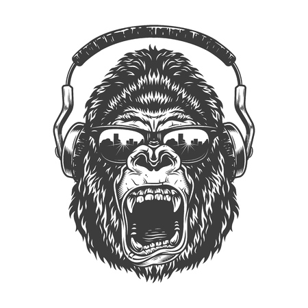 Gorila con auriculares Ilustración de vector