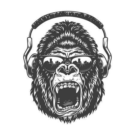 Gorilla met koptelefoon Vector Illustratie