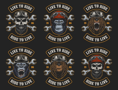 Set of biker emblems Ilustrace