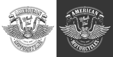 Biker emblem with wings and handle bar. Vector illustration Ilustração