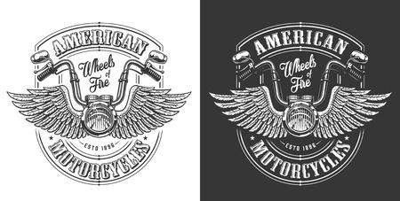 Emblema de motociclista con alas y manillar. Ilustración vectorial
