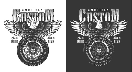 Biker emblem with eagle. Vector vintage illustration Foto de archivo - 111797642
