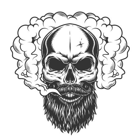 Skull in the smoke Illustration
