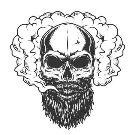 Skull in the smoke Ilustracja
